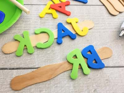 DIY foam name stamps for toddlers