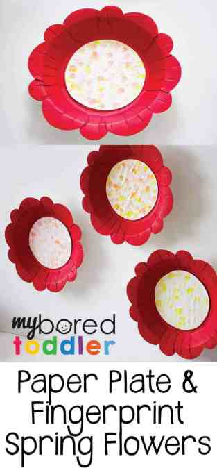 paper plate & fingerprint spring flowers. A fun process art spring activity for toddlers and preschoolers. This paper plate craft for toddlers is lots of fun and a great activity for a 1 year old, 2 year old or 3 year old.