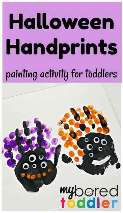 Halloween handprints toddler painting activity