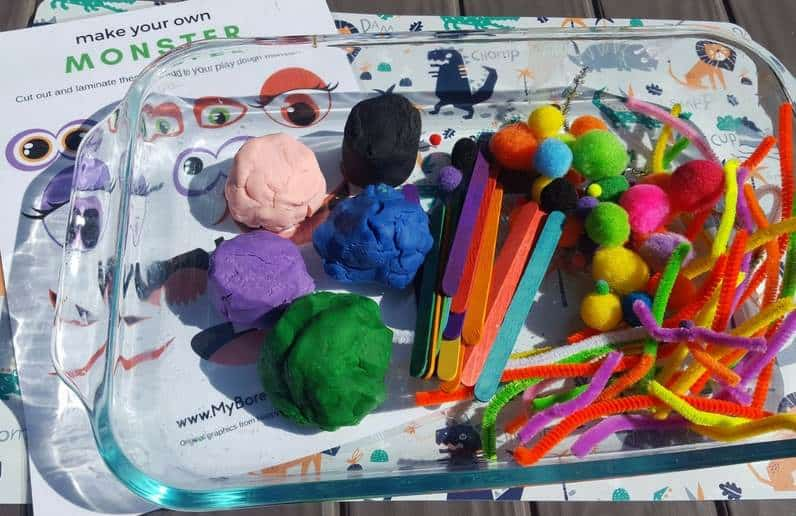monster play dough invitation to play supplies