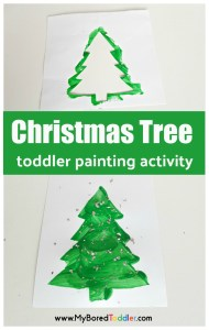 Christmas tree stencil craft for toddlers #toddlerchristmas #christmascraft #toddlerpainting #christmastreecraft #1yearoldcraft #2yearoldChristmas