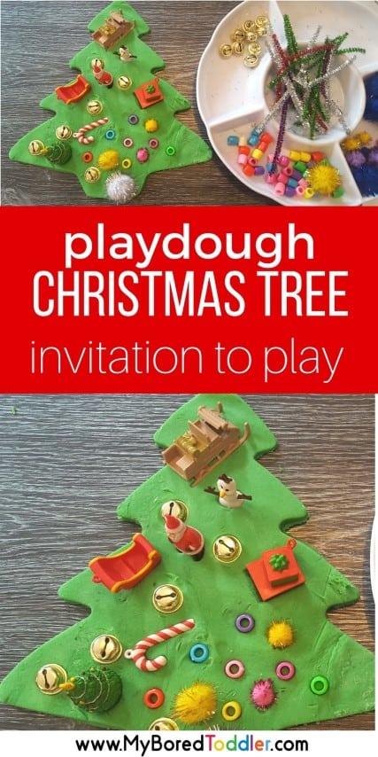 Giant Christmas tree playdough invitation to play for toddlers. Great Christmas sensory play idea. Play doh invitation to play fine motor skills #toddlerchristmas #playdough #christmascraft #invitationtoplay