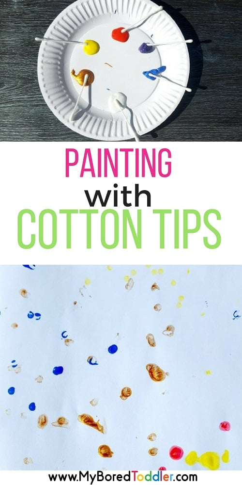 painting with cotton tips / painting with Q tips toddler painting toddler activity #toddleractivity #toddlerpainting #myboredtoddler