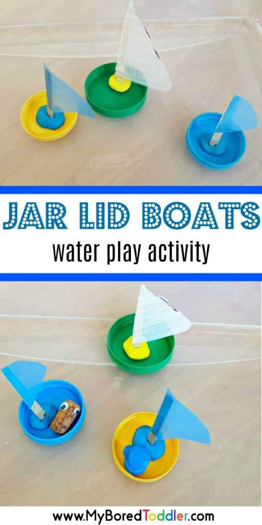 jar lid boats water play activity for toddlers