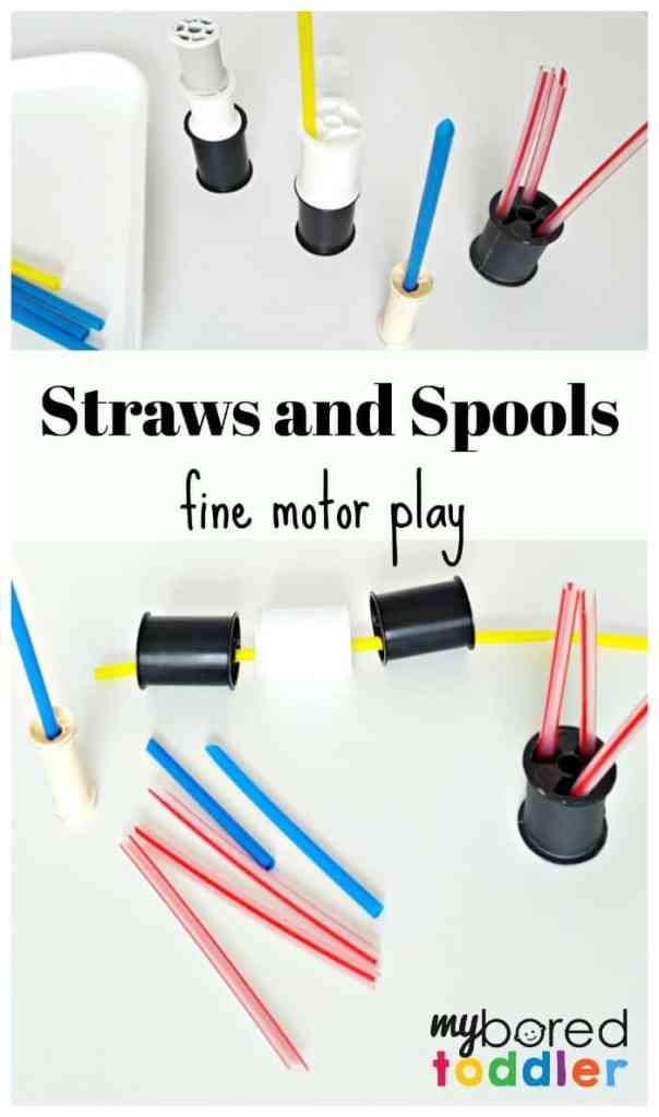 Straws and spools fine motor toddler play