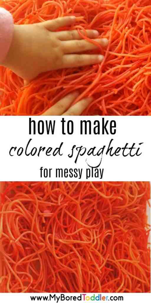 how to make colored spaghetti for messy play pinterest