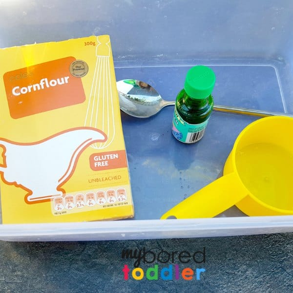 taste safe oobleck for babies and toddlers what you need ingredients