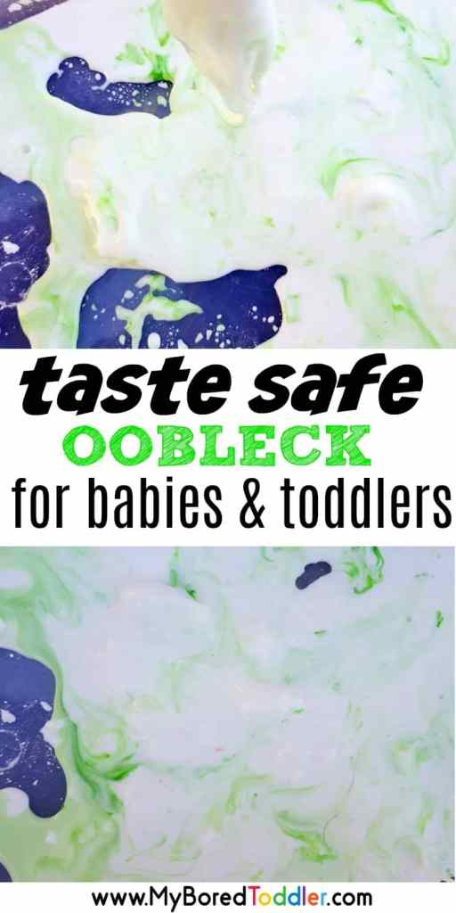 taste safe oobleck fro babies and toddlers pinterest #oobleck #toddlers #messyplay