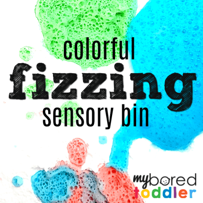 colorful fizzing sensory bin feature