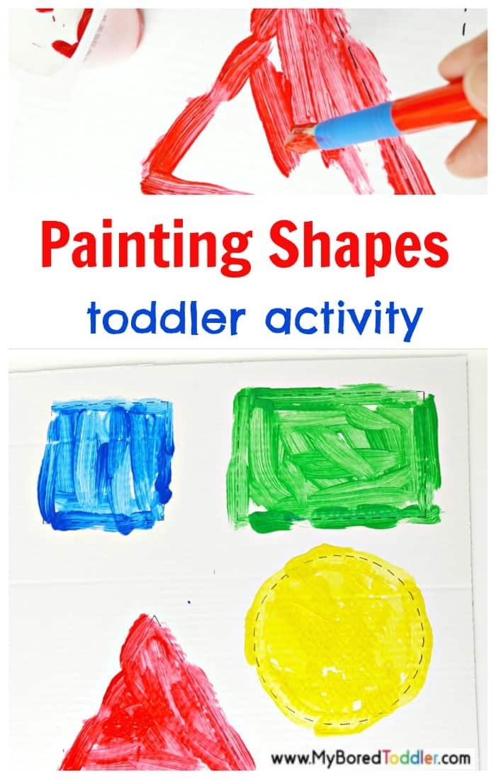 Painting shapes art and math activity for toddlers