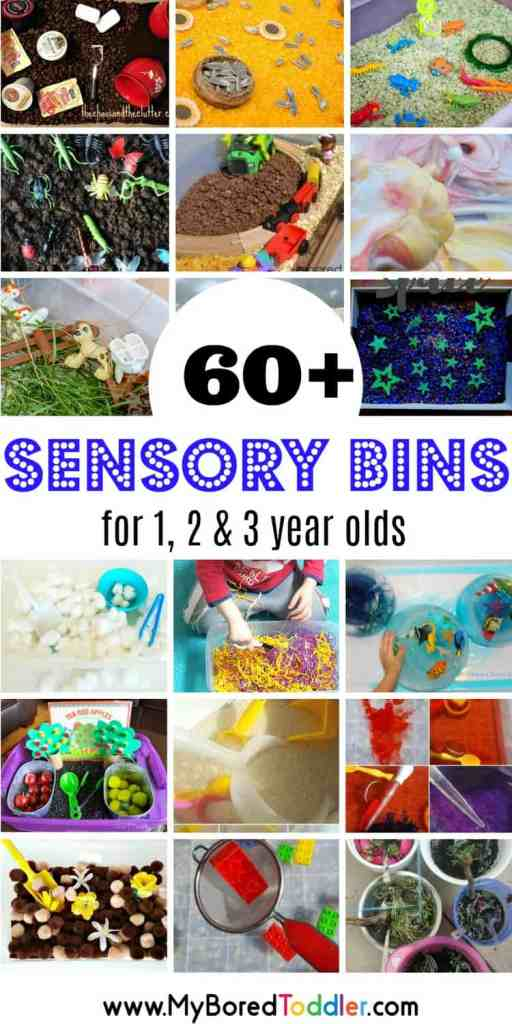 Over 60 fun sensory bins for babies, toddlers and preschoolers. The perfect toddler activity for 1 year olds, 2 year olds and 3 year olds. A sensory bin for all seasons fall spring summer winter and themed too! #sensorybins #sensory #toddler #toddleractivity