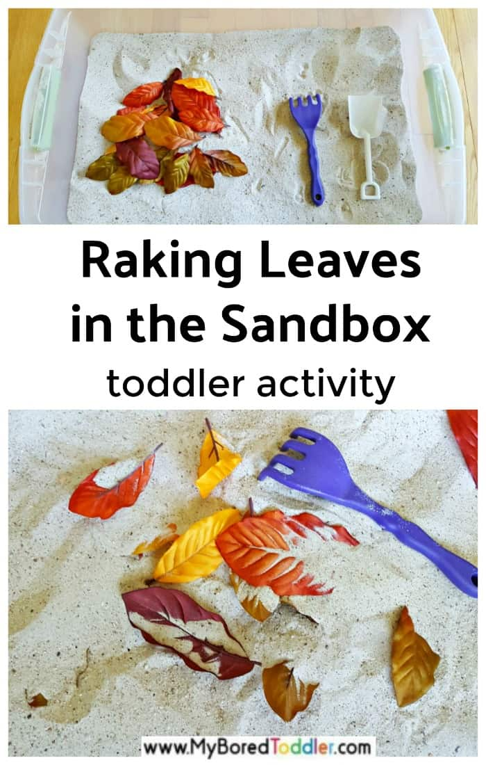 Autumn leaves in the sandbox fall toddler activity