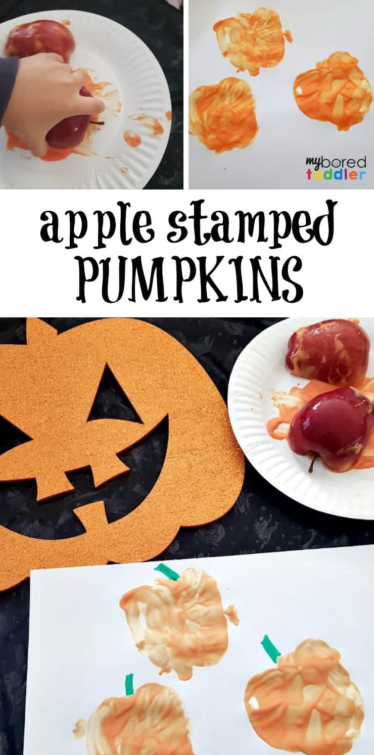 apple stamped pumpkins an easy halloween painting craft for toddlers