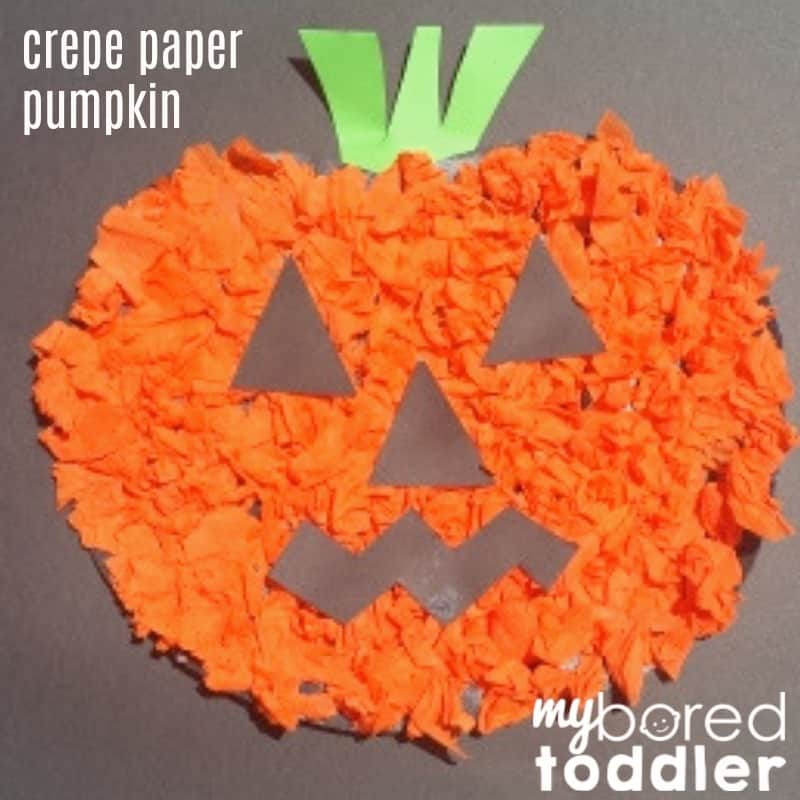 Scrunched Crepe Paper Pumpkin Craft for Toddlers
