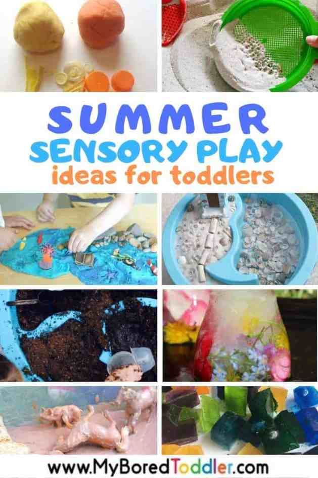 Summer Sensory Play Ideas for Toddlers - sensory bins, bottles and bags with water, sand and more