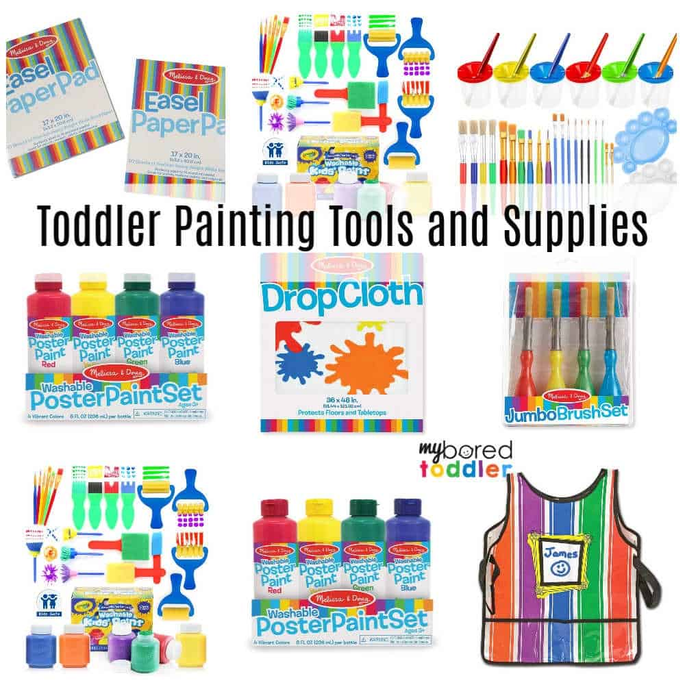 Toddler Painting Tools and Supplies Insta with text