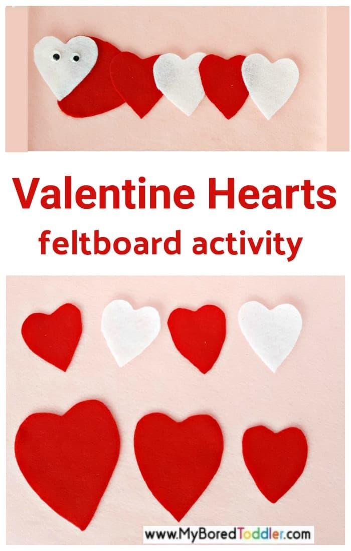 Valentine themed toddler feltboard activity with felt heart cutouts