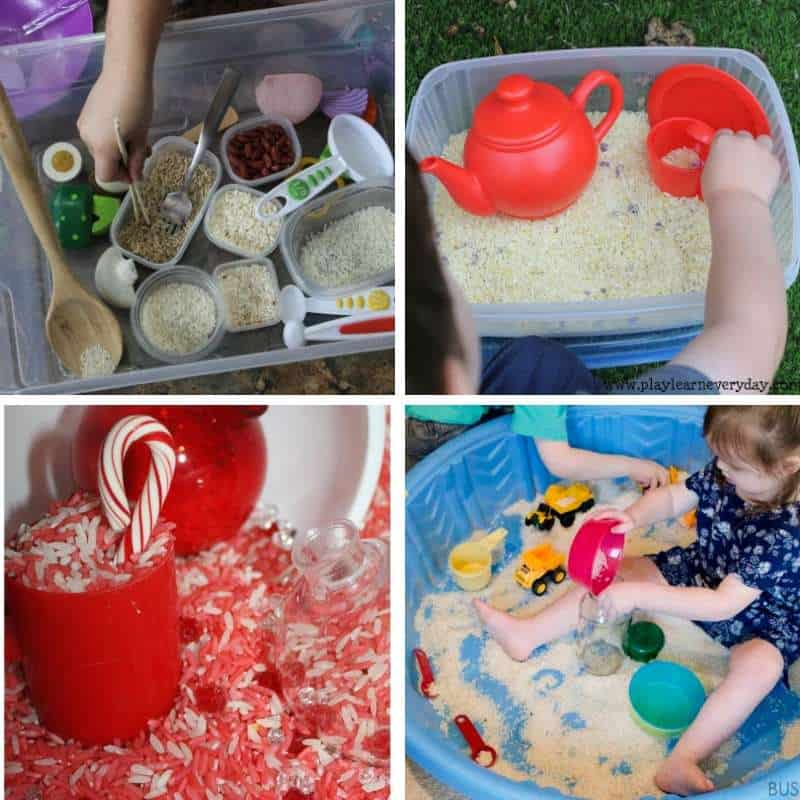 rice based sensory bin play ideas for toddlers