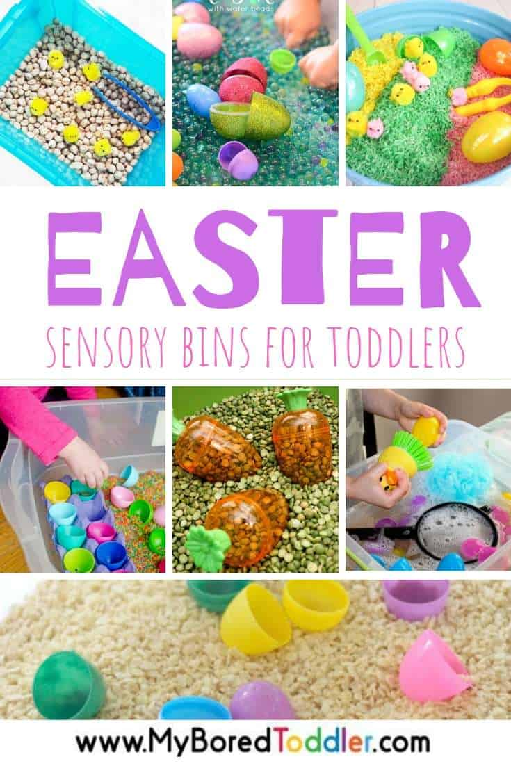 Super simple and fun ideas for Easter sensory bin setups for toddlers and preschoolers