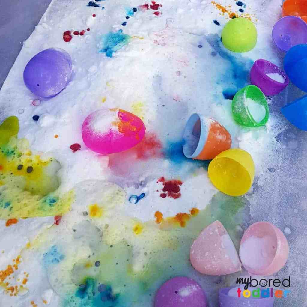 easter fizzing sensory bin for toddlers 6