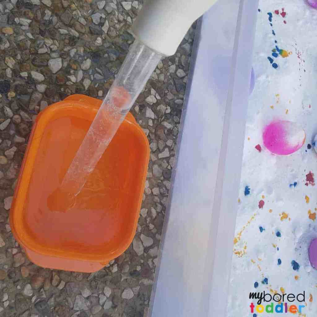 easter fizzing sensory bin for toddlers