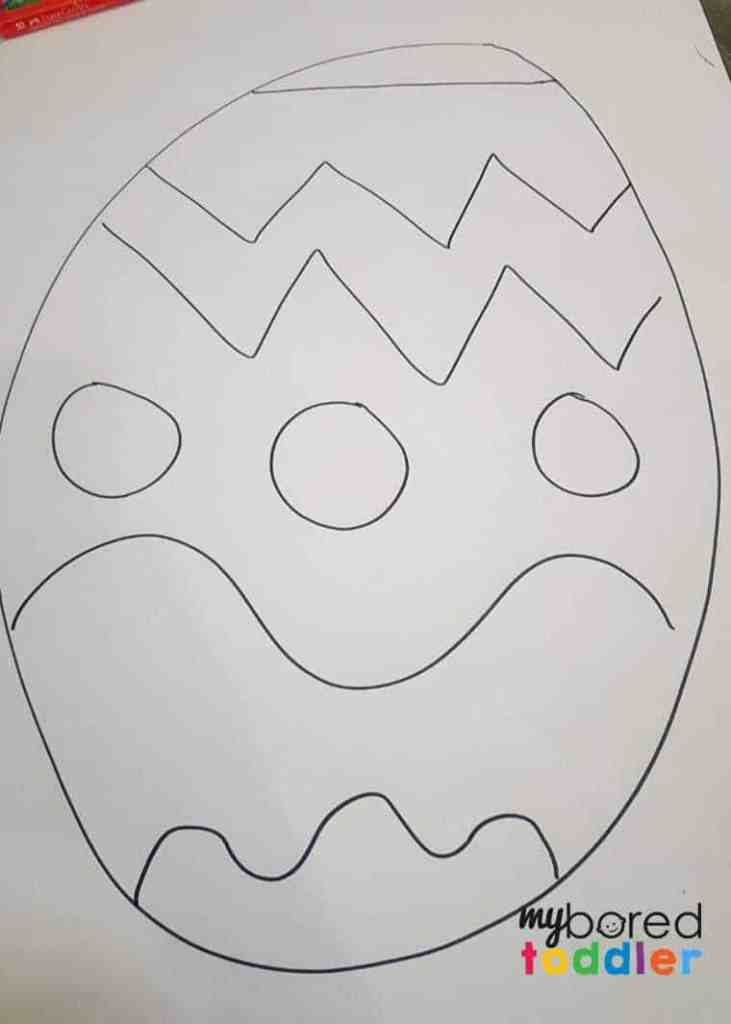easy Easter egg collage craft for toddlers in process 1