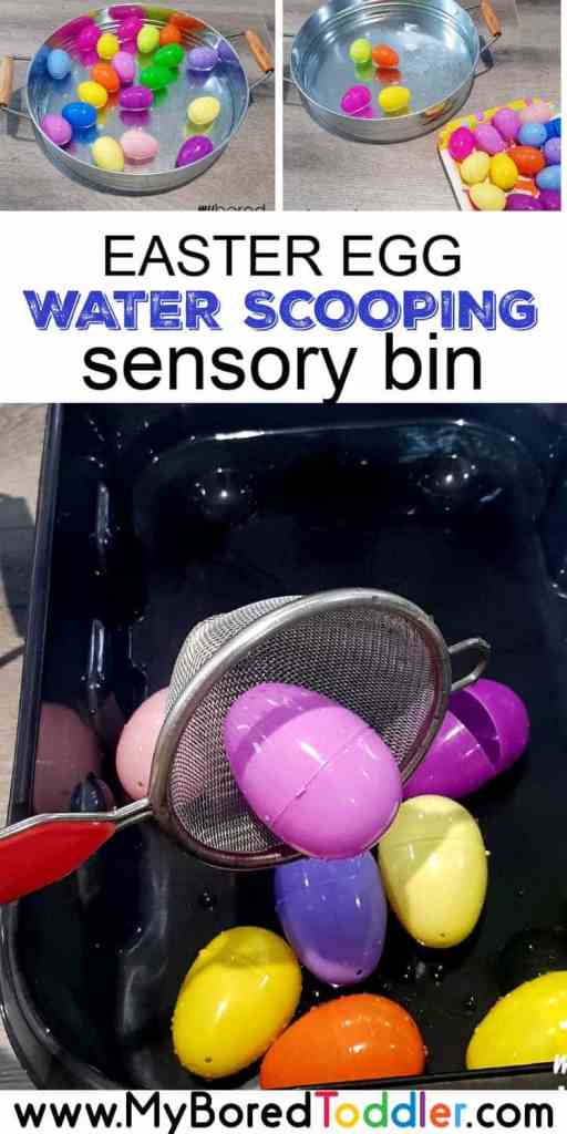 plastic easter egg water scooping sensory bin for toddlers pinterest 1