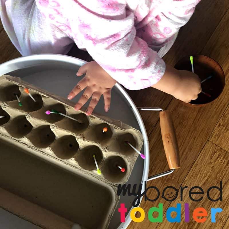 colour cotton tip toddler activity