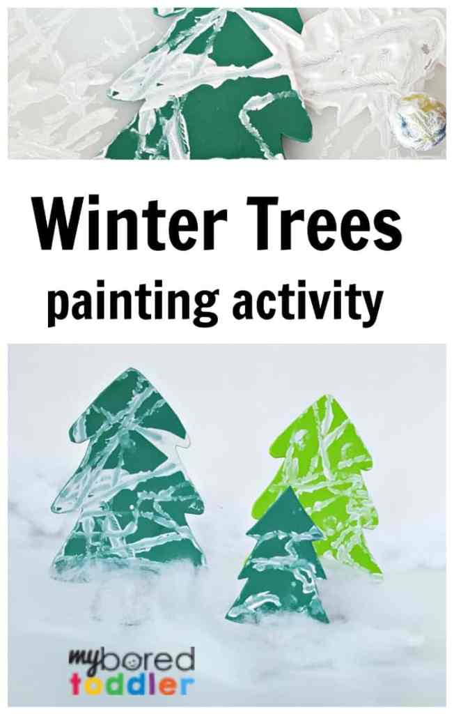 Winter theme painting for toddlers with marble and white paint