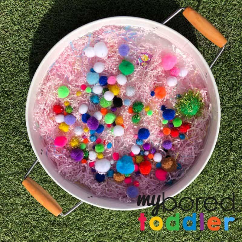 pom pom sensory bin fine motor play for toddlers