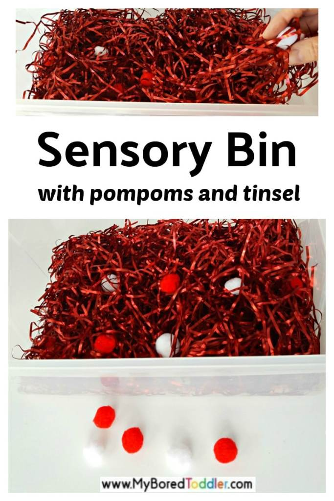 Sensory bin toddler activity with pompoms and tinsel