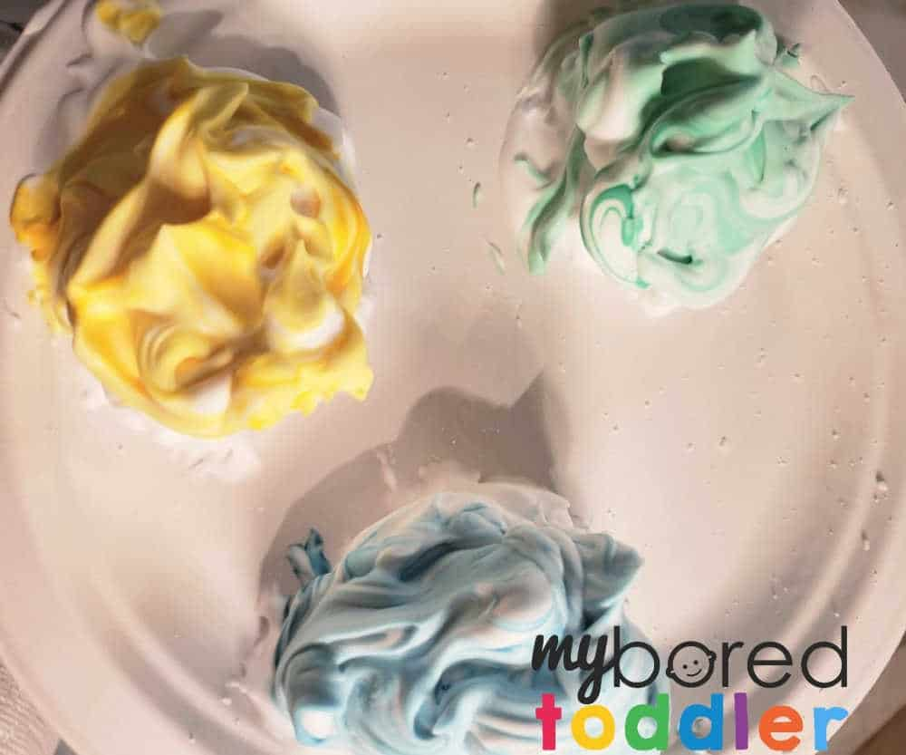 shaving cream toddler bath time activity