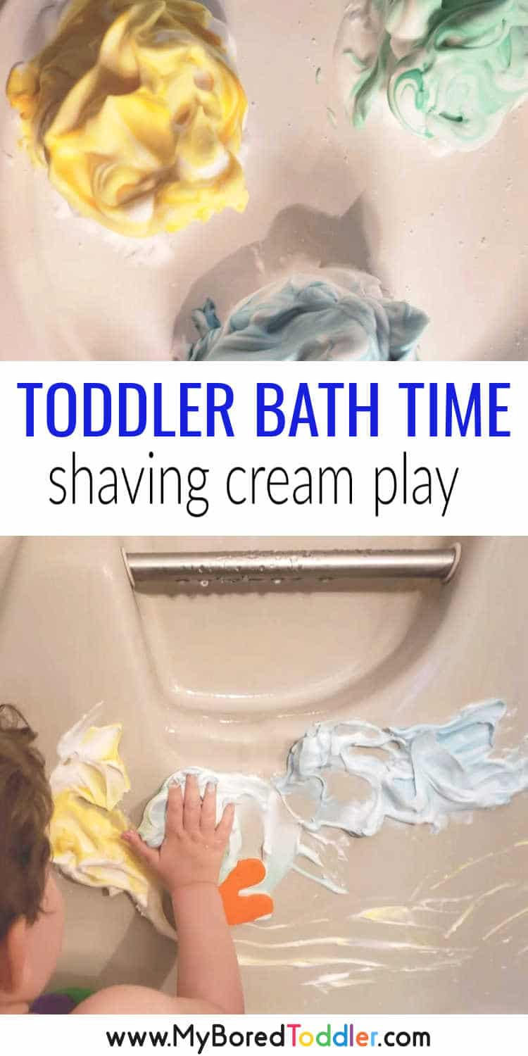 shaving cream bath play for toddlers