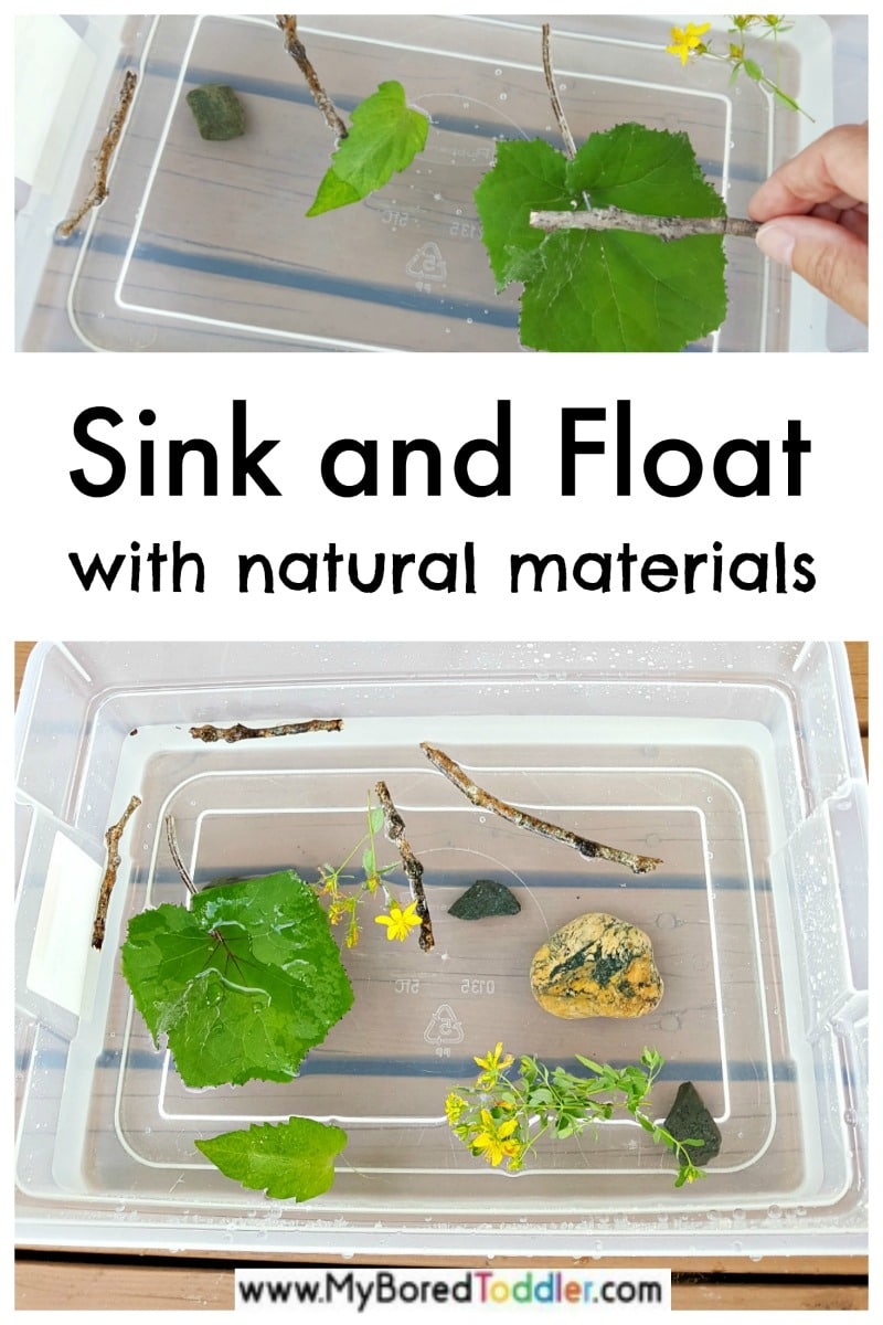 Sink and float toddler activity with materials from nature
