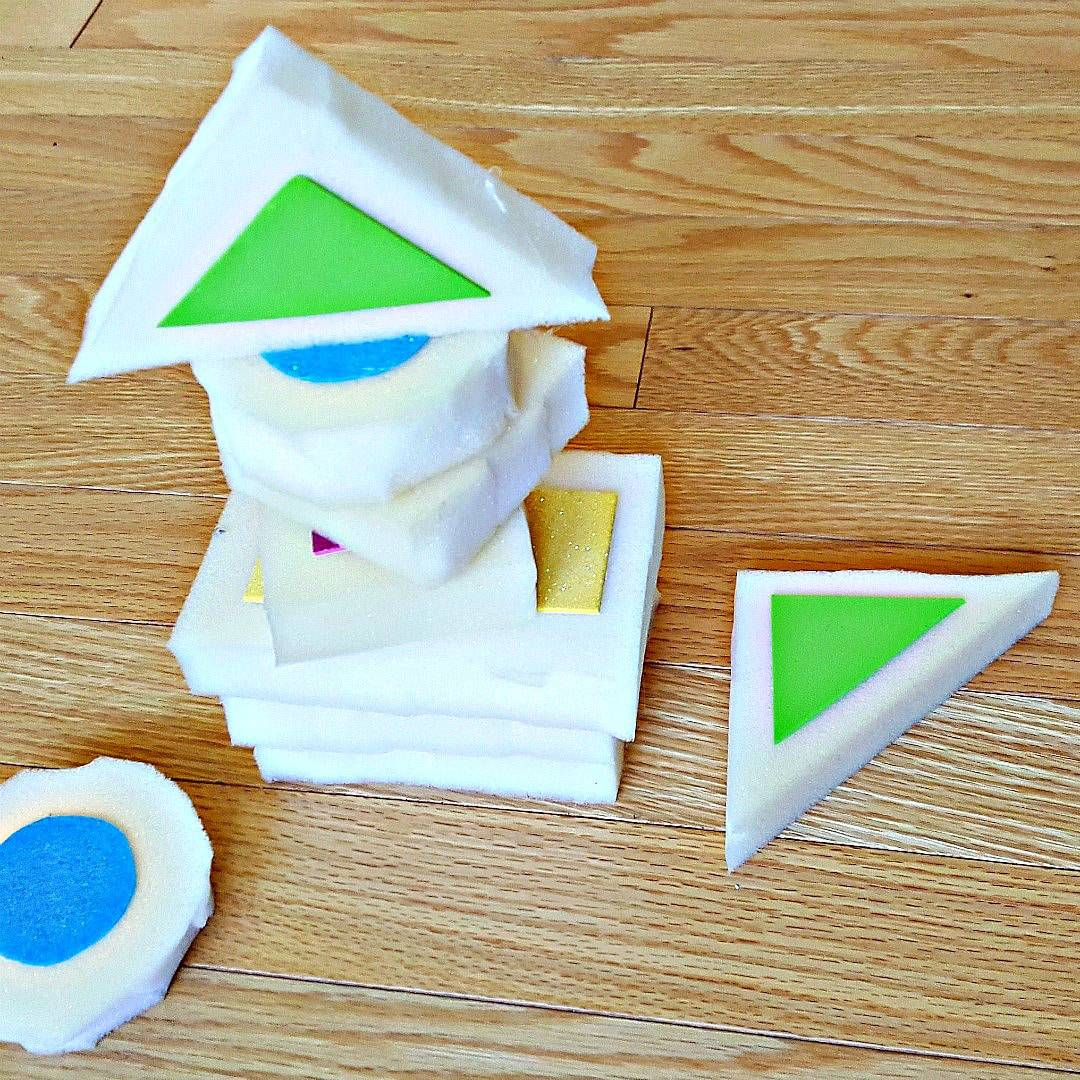 Stacking activity with foam blocks