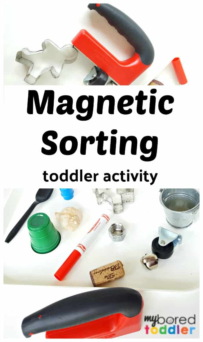 magnetic sorting toddler activity idea to do at home