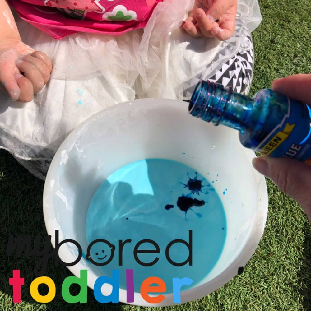 messy play with colored oobleck toddler sensory play ideas