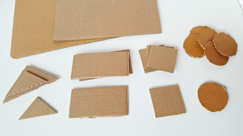 Cardboard shapes for toddler activity