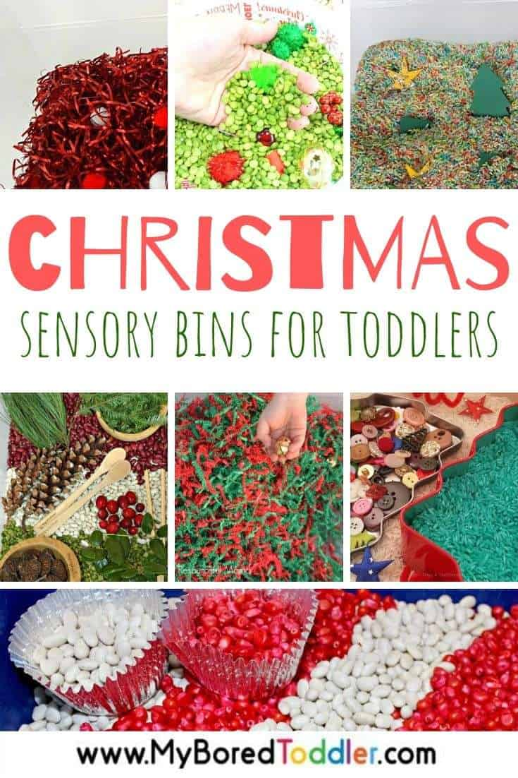 Easy Christmas Sensory Bins for Toddlers