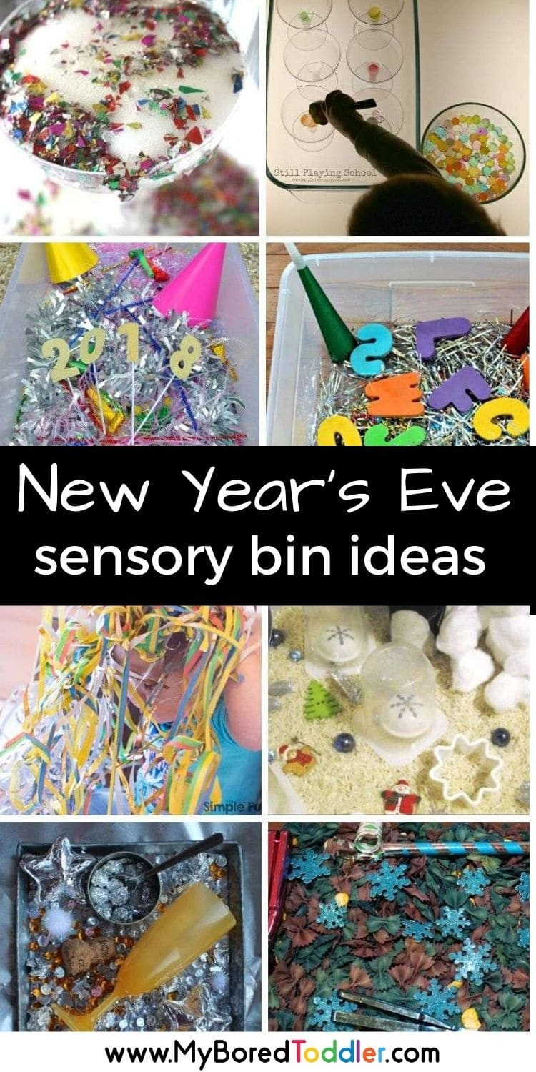 toddler sensory bins for New year's eve