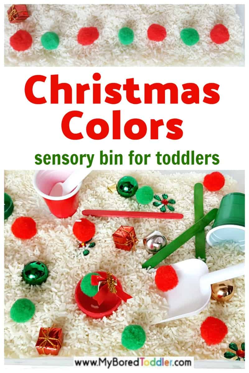 Christmas colors toddler activity with rice sensory bin