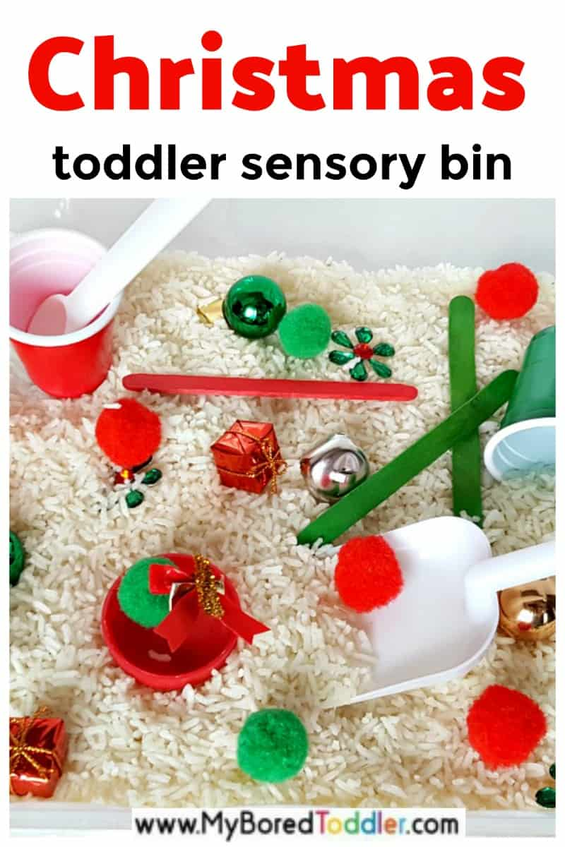 Christmas sensory bin for toddlers and preschoolers