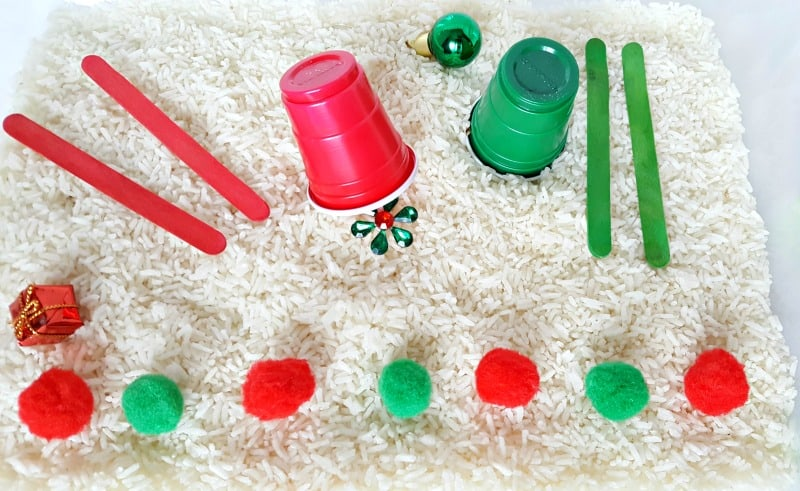 Sort colors with a toddler activity in the sensory bin