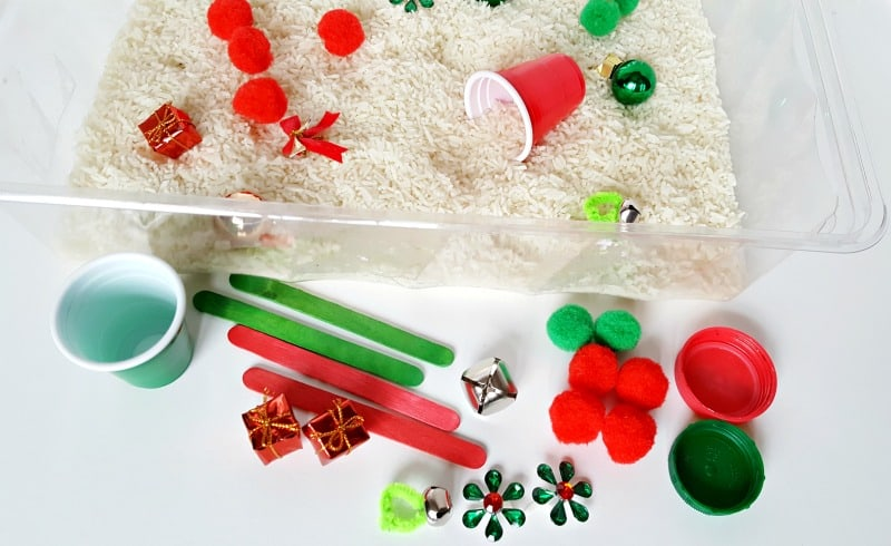 Supplies for a holiday sensory activity with toddlers