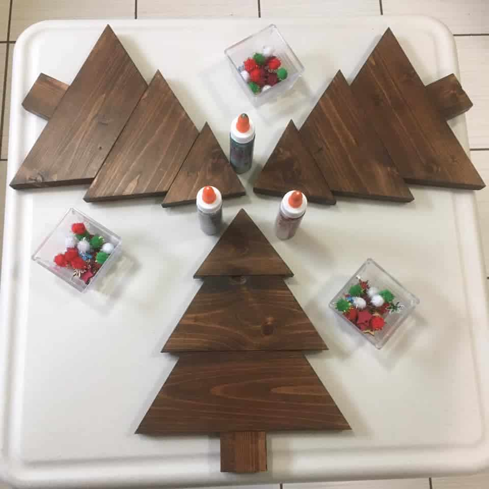 wooden christmas trees loose parts play for toddlers