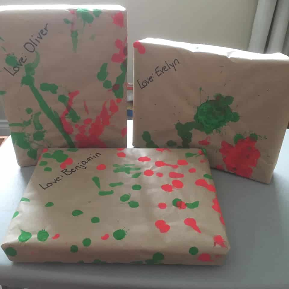 toddler made Christmas wrapping paper