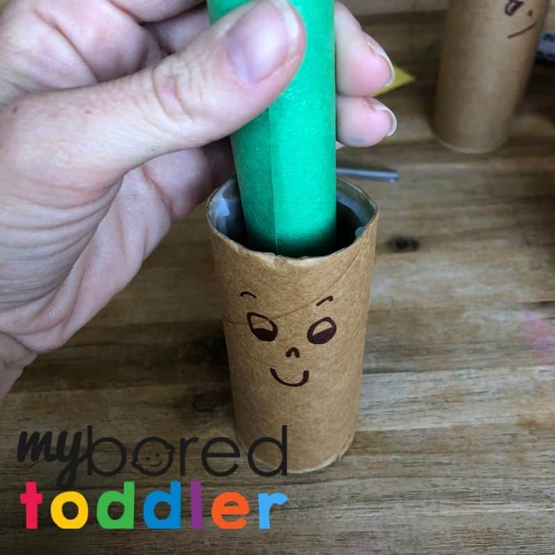 crazy hair toilet roll craft idea for toddlers to do at home step 3
