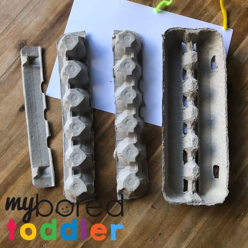 egg carton caterpillar craft step 1