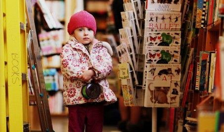 little girl in powell's books