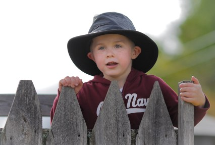 boy with black leather hat